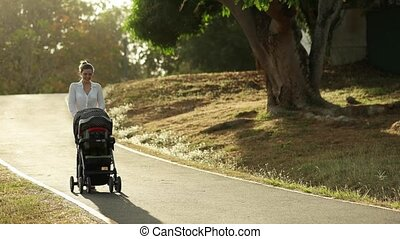Mom With Toddler in Pushchair - Beautiful woman walking with...