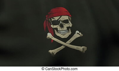 Loopable waving colored Jolly Roger pirate flag animation
