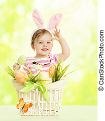 Child Girl in Bunny Ears, Basket with Eggs, Little Kid