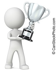 Trophy. - The dude 3D character holding silver Trophy.