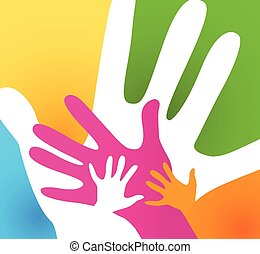 children and adults hands together