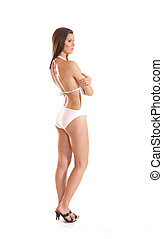 Sexy lady wearing swimsuit on white