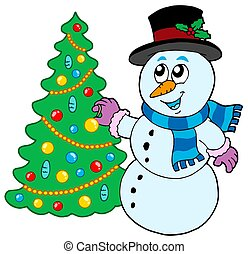 Snowman decorating Christmas tree