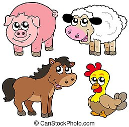 Cute country animals collection - isolated illustration