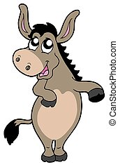 Funny donkey on white background - isolated illustration.