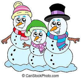 Snowman family on white background - isolated illustration.