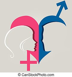 male female gender heart - The concept of relations between...