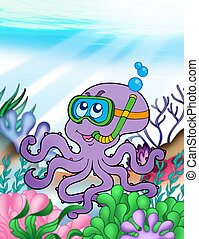 Octopus diver underwater - color illustration.