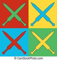 Pop art crossed gladius swords symbol icons.
