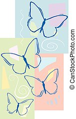 Butterflys - A peaceful design of sketchy butterfly's on a...