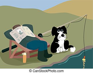Dog fishing rod rest. - A relaxed angler uses his hapless...