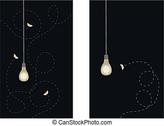 Moths and lightbulb - Moths fluttering around a porch...