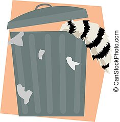 Raccoon in a trash can - A raccoon scavenging in a trash can...
