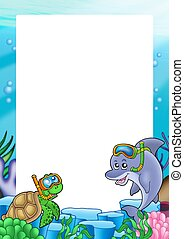 Frame with turtle and dolphin - color illustration.