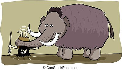 When mammoth hunts go bad... - A mammoth exacts revenge on a...