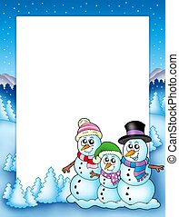 Winter frame with snowman family - color illustration.