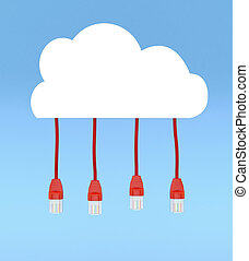 concept of cloud computing - one stylized cloud with network...