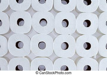 Background pattern of white toilet paper rolls - Full frame...
