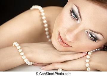 el, niña, perlas