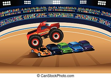Monster truck jumping on cars - A vector illustration of...