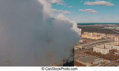 Flight Downward near with Pipe District Power Plant, aerial...