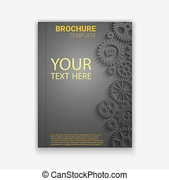 Vector brochure template design with cogwheels Creative idea...