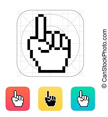 One finger. Pixel hand cursor icon.