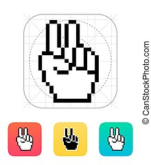 Pixel victory hand icon.