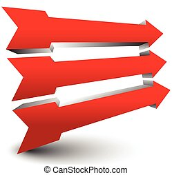 Bold 3d arrows in red pointing right Bold 3d arrows in red...
