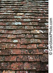 Architectural grunge aged roof clay tiles