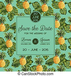 Save the Date - Wedding Invitation Card - with Retro Pineapples - in vector