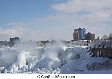 Niagara American Falls, Ice - Looking across an expanse of...