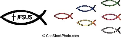 Ichthys Christian sign vector illustration set Conceptual...