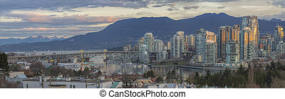 Vancouver BC Skyline with Granville Island Bridge -...