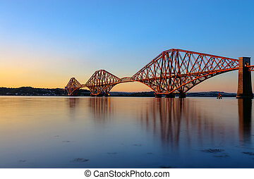 The Forth Rail Bridge at sunset - The Forth Rail Bridge in...