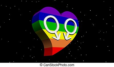 Gay men couple in rainbow color heart in stary night - Two...
