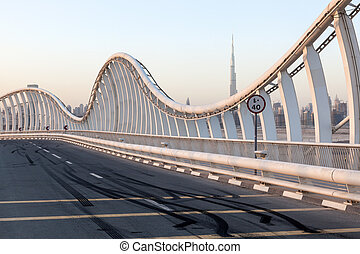 Skid Marks at the Meydan Bridge in Dubai, United Arab...
