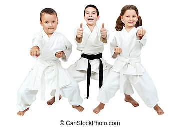 Little children express the delight - On a white background...