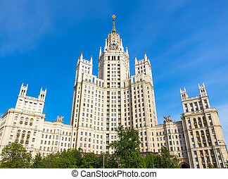 Kotelnicheskaya skyscraper - The front facade view of the...