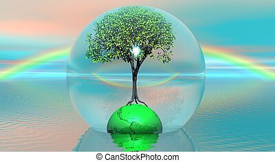 Green tree and earth in a bubble