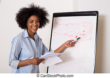 a young woman pointing at the whiteboard during a meeting.