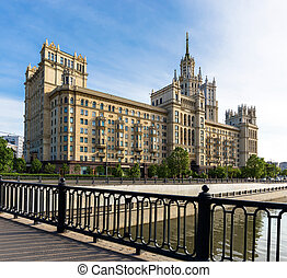 Kotelnicheskaya Embankment Building near Yauza river in...