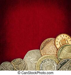British Coins over Red Grunge Background
