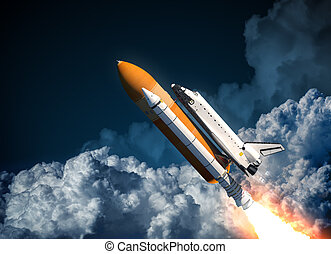Space Shuttle Flying In The Clouds. 3D Scene.