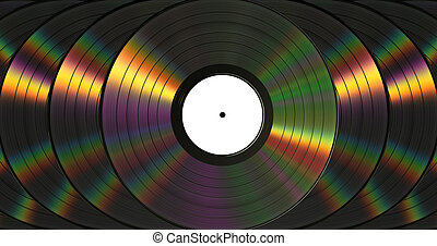 Vinil Records With Dispersion. Background. 3D Scene.