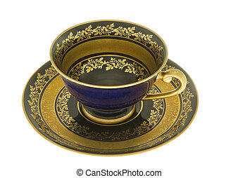 DECORATIVE COBALT BLUE CUP AND SAUCER - delicate cobalt blue...