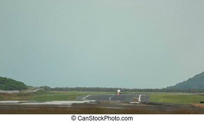 Take-off - Turboprop airplane take-off, International Phuket...