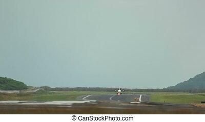 Take-off - Turboprop airplane take-off, International Phuket...