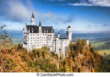 Neuschwanstein castle in Bavaria, Germany - Famous...