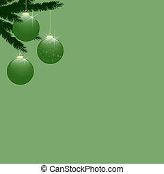 Christmas Tree Baubles on Light Green